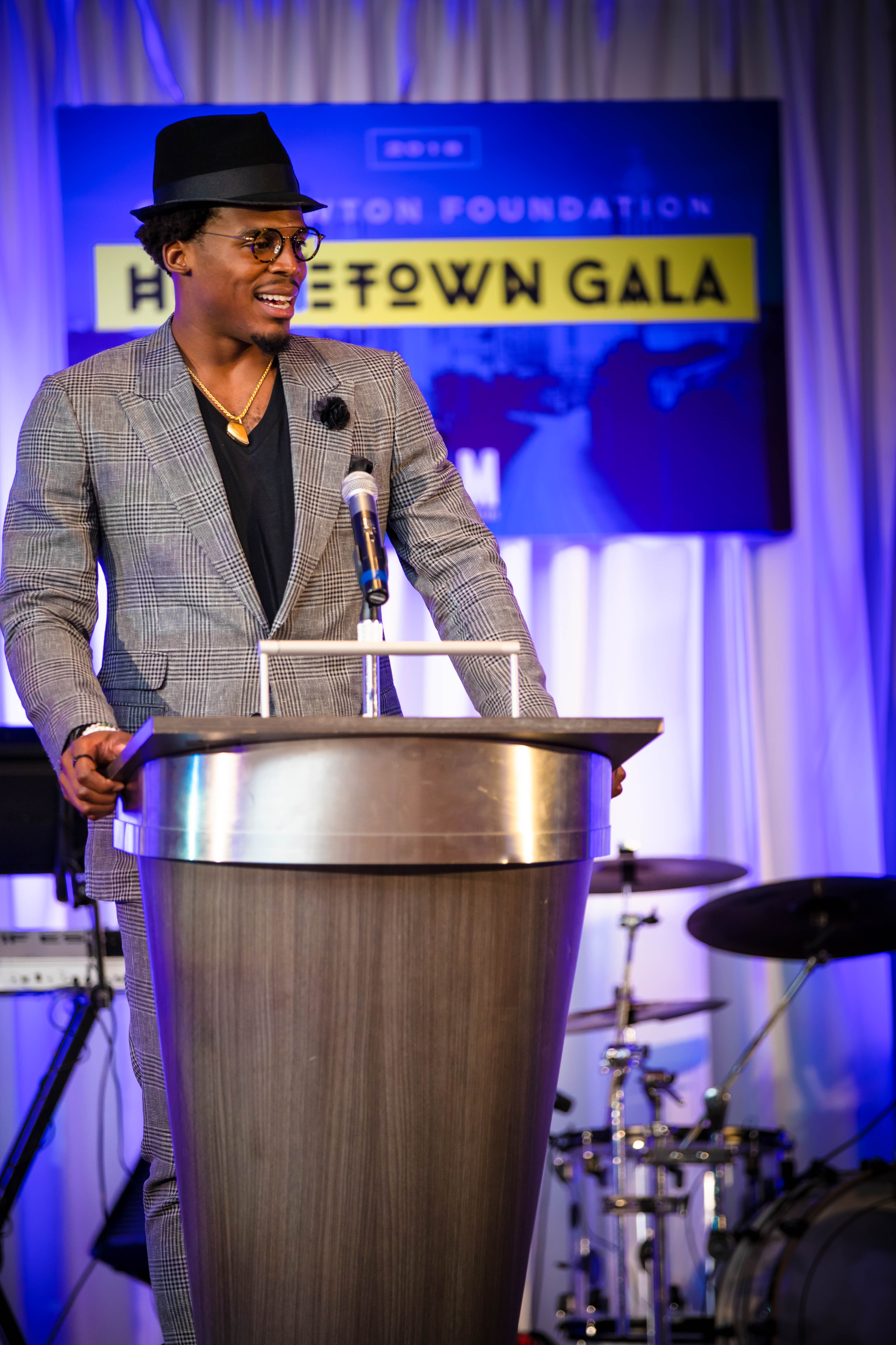 Cam Newton addressing crowd at the HomeTown Gala 2018