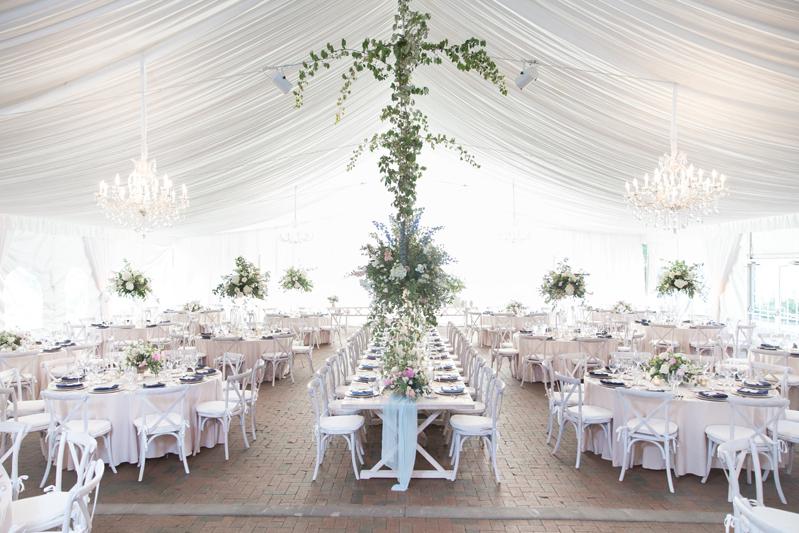 Tented wedding reception at Diana at Bilmore