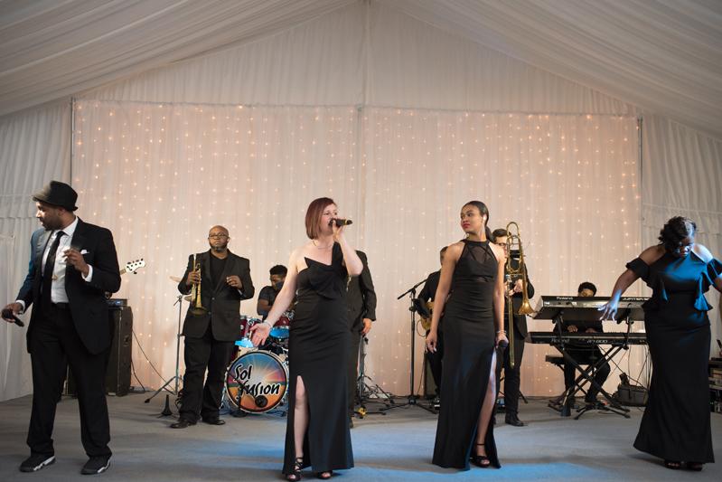 Sol Fusion band performing during a wedding reception at Diana at Biltmore.