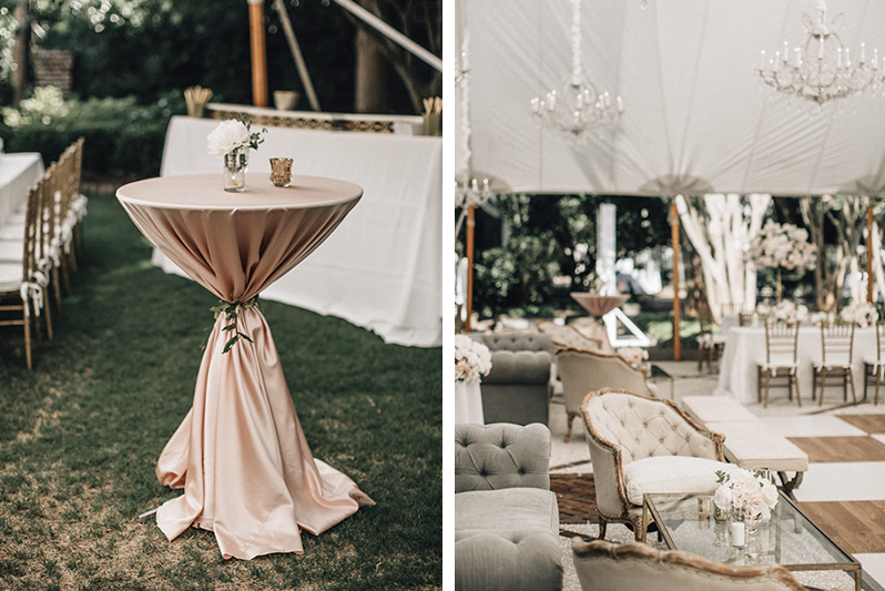 blush cocktail tables and wedding reception lounge seating