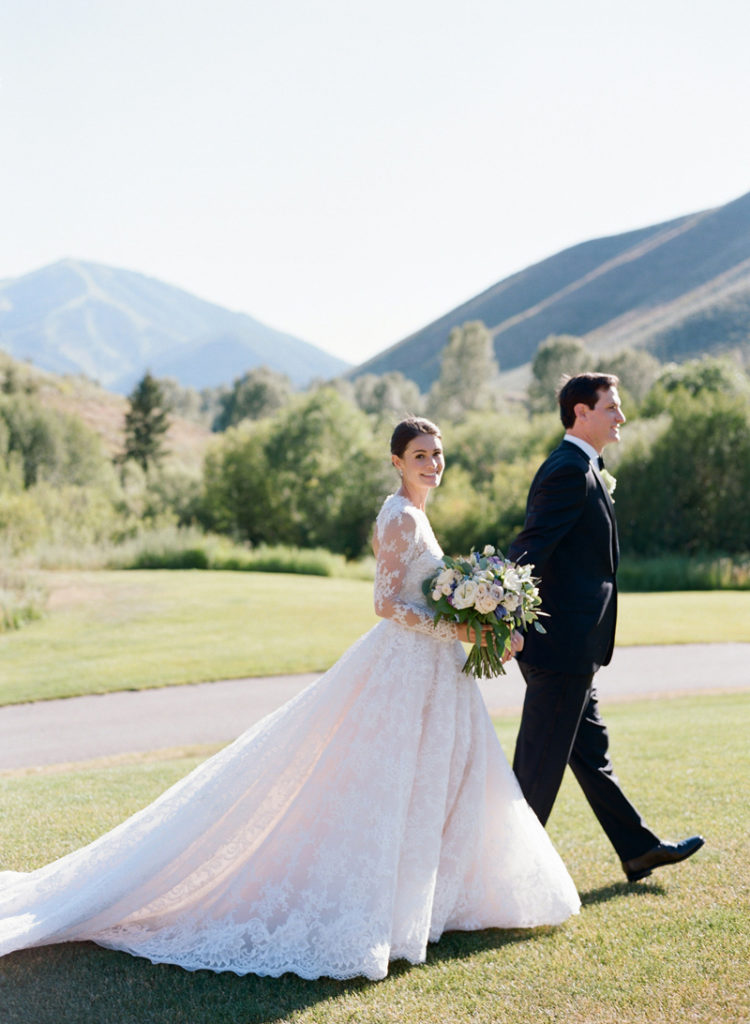 Bride and groom outdoors at Sun Valley wedding