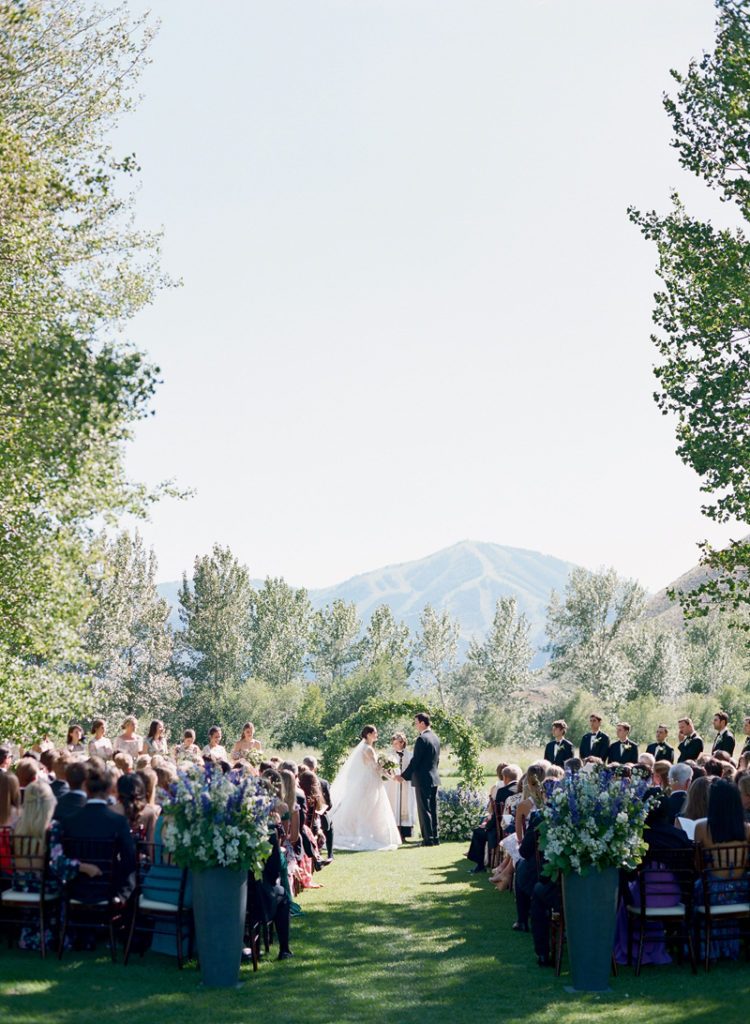 Outdoor ceremony at Sun Valley Resort wedding