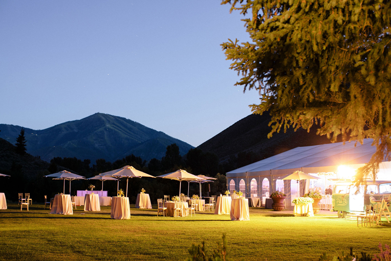 Sun Valley Resort wedding reception at dusk