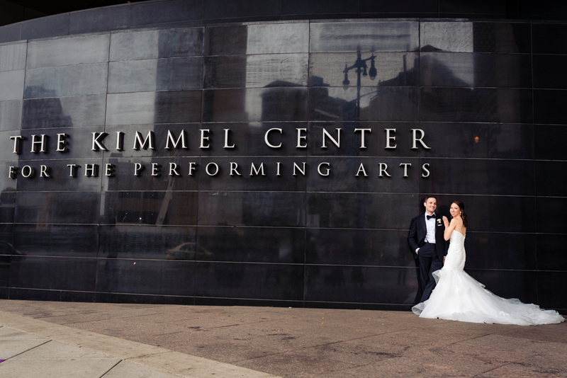 Bride and groom at their wedding at The Kimmel Center