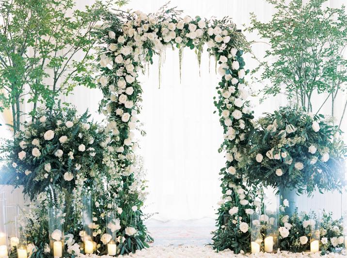 Ceremony flowers at Sea Island wedding
