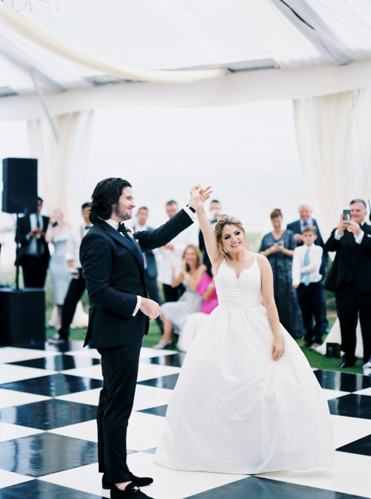 Bride and Groom's first dance at tented Sea Island wedding